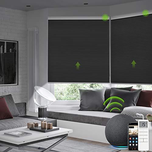 Yoolax Elektrische Wabenplissee, Motorisierte Klemmfix Plissee, Kompatibel mit Alexa&Google Home, Sonnenschutzrollo für Fenster, Türen, Drahtlos Wiederaufladbar, Angepasst, CarbonGrau