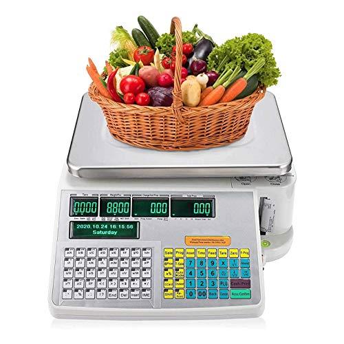 MTCWD Básculas de pesaje de códigos de Barras Digitales con Etiqueta y Pantalla Dual Frontal Trasera para pesaje de supermercados/Tiendas minoristas/almacenes (Size : 6kg)