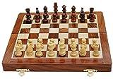 BEST Chess Tablero de ajedrez Plegable de Madera magnético Hecho a Mano del Mejor ajedrez con la Reina Adicional y Almacenamiento para Las Piezas de ajedrez-Marrón || 10x10 Pulgadas ||