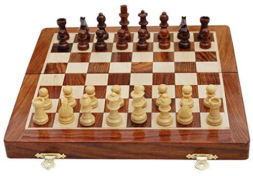 El Mejor Tablero de ajedrez Plegable de Madera magnético Hecho a Mano con Piezas magnéticas y Reinas adicionales y Almacenamiento para Piezas de ajedrez marrón (12x12 Inches)