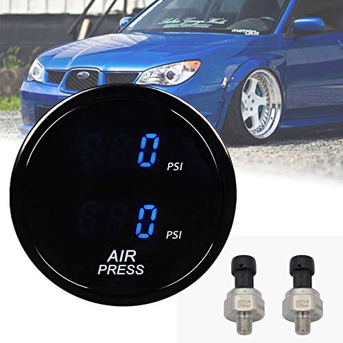 Goopool Air Suspension Pressure Gauge 2Inch 52mm Smoked Lens Dual Digital Max 290 PSI with 2PCS 5 Meters Electronic Sensors for Air Ride Pressure Suspension Systems (Blue)