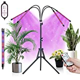 GOODEER Grow Lights for Indoor Plants, 100W 4-Heads LED Lamp Bulb with Remote Controll, Tripod Stand Adjustable 15-59 in, Full Spectrum 3 Modes 10 Dimmable Level