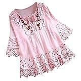 Camicette Top Donna Vintage Pizzo Patchwork Bow Scollo a V Tre Quarti T-Shirt (XXL,1rosa)