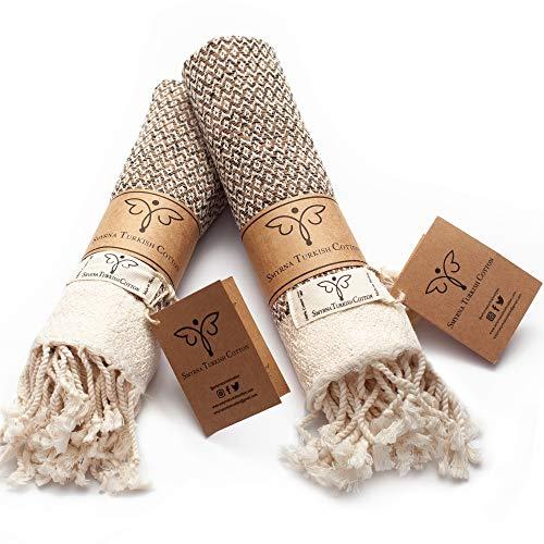 Smyrna Original Turkish Hand Towels | 100% Cotton, Prewashed, 16 x 40 Inches | Decorative Bathroom Peshtemal Towel for Hand, Face, Hair, Gym, Yoga, Tea, Dishcloth, Kitchen and Bath (Latte)