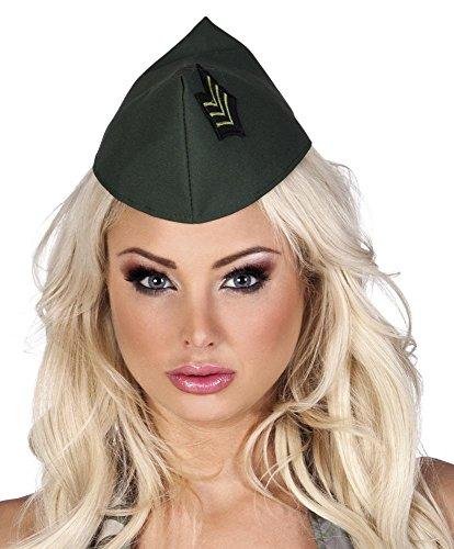 shoperama Army Militär Schiffchen Grün Hut Mütze Kappe Soldatin Armee Offizier Accessoire