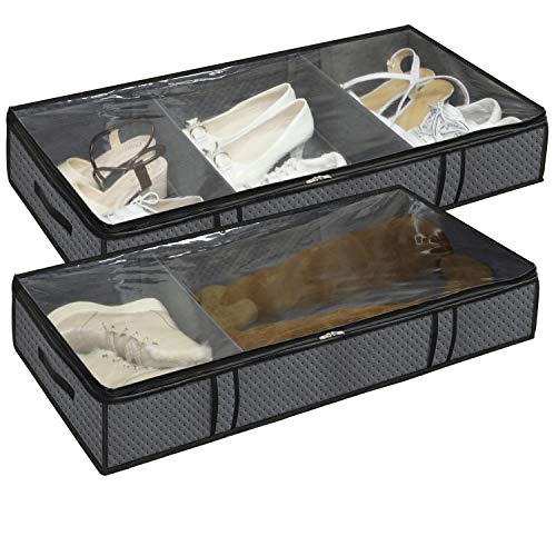Onlyeasy Breathable Under Bed Shoe Organizer Set of 2, Foldable Underbed Shoes Closet Storage for Clothing Blanket Sheets with Clear Window & Zipper Closure, 35.4'x16.5'x5.9', Dark Grey, MN3GUBS3P2
