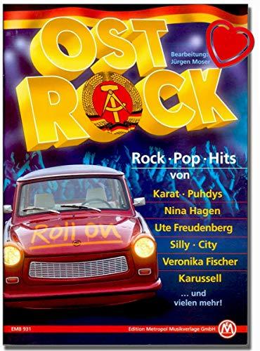 Ost Rock Songbook - Hits von Puhdys, Karussell,City, Karat, Elefant, Keimzeit, Silly, Tamara Danz, Electra, Jürgen Hart uvm - mit bunter herzförmiger Notenklammer