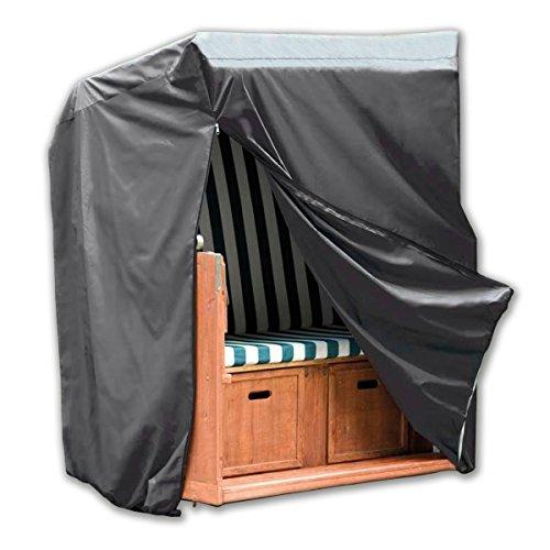 Monkey Mountain® Schutzhülle Deluxe für Strandkorb mit 2 Reißverschlüssen und Gummizug/wasserdicht aus Oxford Polyester 420D / atmungsaktiv/Winterfest/frostsicher/strapazierfähig