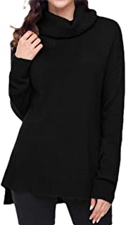 Womens Turtleneck Sweater Dress Cashmere Knit Oversized Pullover Baggy Tops Dress Sweaters