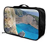 AGnight Tragbare Gepäcktasche Foldable Cube Travel Bag Fashion Lightweight Large Capacity Portable Luggage Bag (Rock Formations at Seaside)