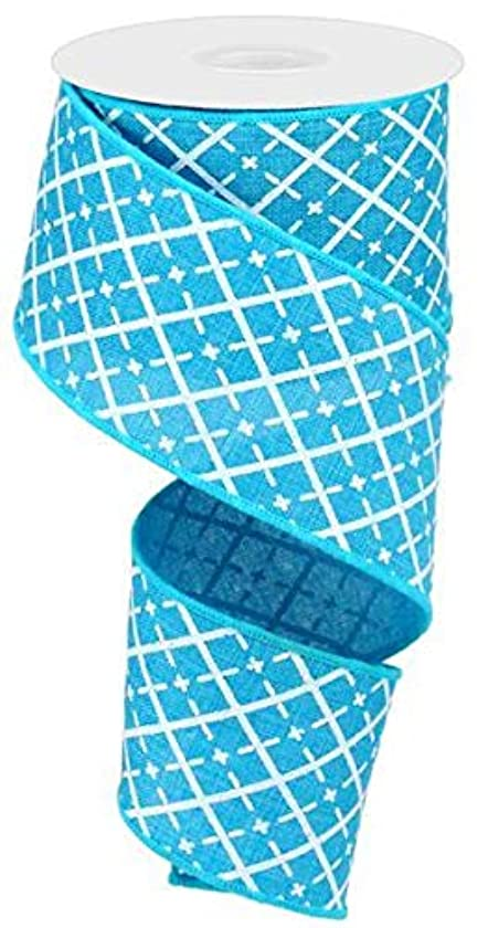 Turquoise Blue White Silver Glittered Argyle Wired Ribbon 2.5
