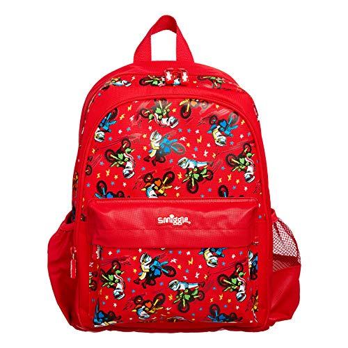 Smiggle Cheer Junior Backpack for Boys & Girls with Adjustable Shoulder Straps, Carry Handle & Dual Drink Bottle Sleeves   Motorbike Print