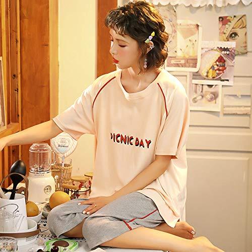 LUOY Conjunto Pijama Mujer,2 Piezas para Mujer Ropa De Dormir De Algodón Suave Día De Picnic Estampado Beige Mangas Cortas Cuello Redondo Tops Pantalones Niñas Encantador Traje Casual Homewear, 3XL