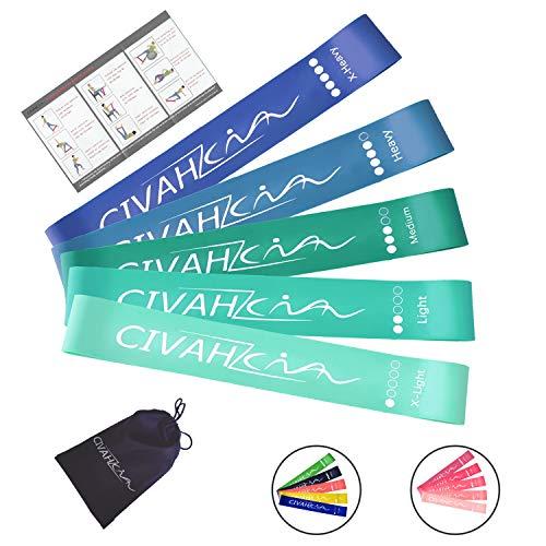 CIVAH widerstands bänder naturlatex fitnessbänder Übung Rallye-gürtel Indoor-Fitness beinmuskel-Pilates-Yoga-Rehabilitation Übung Blue Set 5