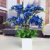 GSLOVEDC Künstliche Blume Orchidee Phalaenopsis Hauptdekoration Topfpflanzen Wohnzimmer Schlafzimmer Blau