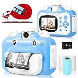 Cámara para niños, cámara de impresión WiFi para niños, cámara de vídeo HD 1080P con Pantalla de 2.4 Pulgadas, cámara instantánea con Tarjeta SD de 16 GB y 3 Rollos de Papel de impresión (Blue)