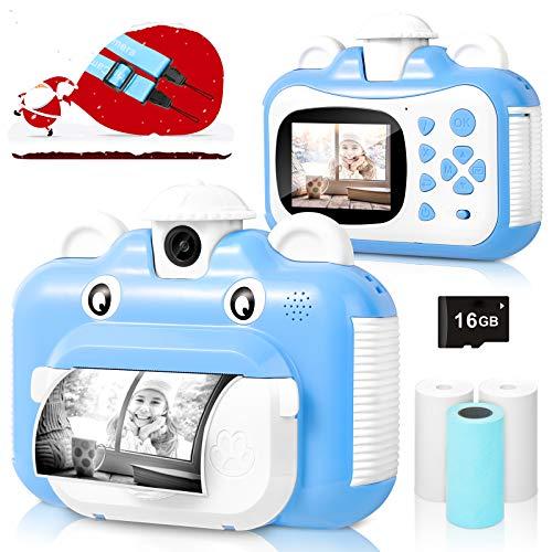 BITIWEND Kinderkamera, WiFi Print Kamera für Kinder, 1080P HD Videokamera mit 2,4 Zoll Screen, Sofortbildkamera Schwarzweiß-Fotokamera mit 16 GB SD-Karte und 3 Rollen Druckpapier, Geschenk für Kinder