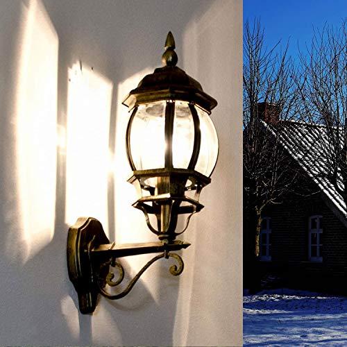 *Rustikale Wandleuchte in antikgold inkl. 1x 12W E27 LED Wandlampe aus Aluminium Glas für Garten Terrasse Garten Terrasse Lampe Leuchten außen*