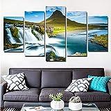 Wuyyii キャンバスアートHdプリント5ピースアイスランド滝川ヒルズ壁写真用リビングルームモジュラー絵画現代装飾-20X35Cmx2/20X45Cmx2/20X55Cmx1