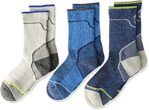 Free Country Little Boys 3-Pack Crew Socks, Sock: 7-8.5/Shoe: 10-13, Wool Navy Birdseye Wave