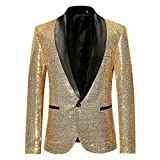 SFE Men's Fashion Suit Jacket Blazer Single Button Sequin Luxury Weddings Party Dinner Prom Tuxedo Gold