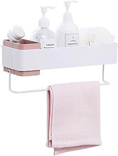 浴室ラック お風呂場ラック 洗面所 収納 ボトルラック タオル掛け 壁掛け式 粘着式(ピンク)