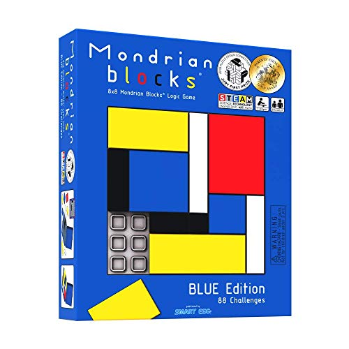 Mondrian Blocks premiado rompezabezas, Juego de Viaje Compacto a Bordo, Edición Azul