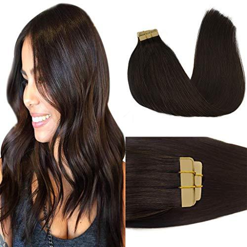 GOO GOO 18inch Tape in Hair Extensions Dark Brown Remy Straight Natural Hair Extensions Tape in Human Hair Skin Weft 50g 20pcs