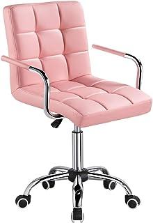Yaheetech Chaise de Bureau avec Roues Pivotantes en éco-Cuir Fauteuil de Bureau avec Accoudoirs Amovibles pour Chambre Stu...