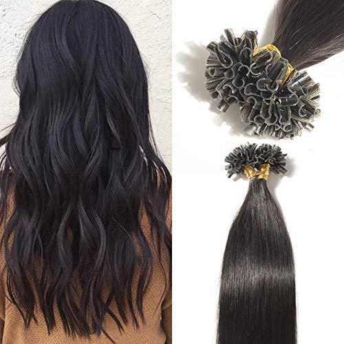 TESS Extensions Echthaar Bondings 1g 100% Remy Haarverlängerung 50 Strähnen Keratin Human Hair 50g/50cm(#1B Naturschwarz)