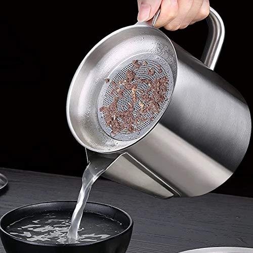 Haokaini Fettabscheider Fettbehälter mit Edelstahl-Fettsieb Speiseöldose mit Herausnehmbarer...