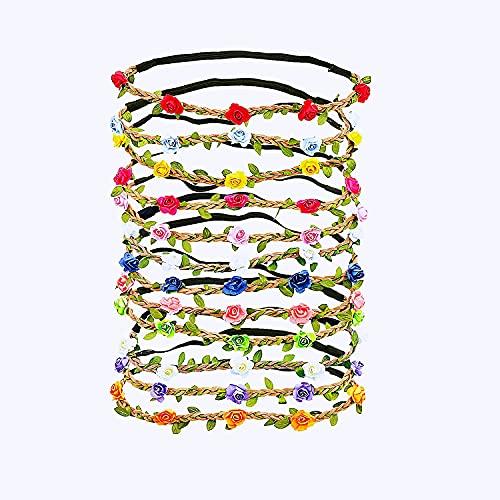 LATRAT 12 pezzi fascia fiore ghirlanda, fascia colorata fiore rosa per accessori per capelli donna ragazza (12 colori casuali)