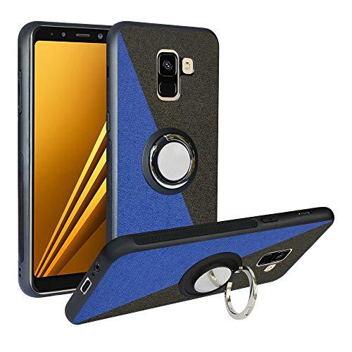 Alapmk Cover per Samsung Galaxy A8 2018, [Pattern Design] con 360 Magnetica per Auto, Custodia Protettiva TPU Protettiva Custodia Cover per Samsung Galaxy A8 2018,Blue/Black