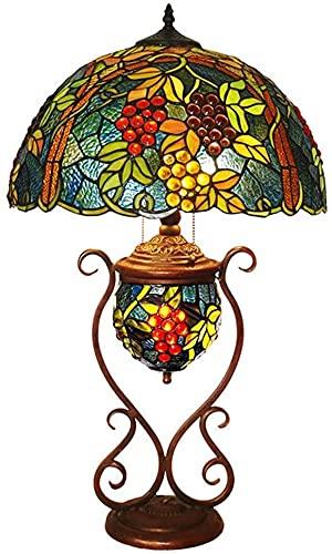 KMILE Lámpara de mesa Tiffany de cristal manchado hecha a mano clásica americana de 17 pulgadas