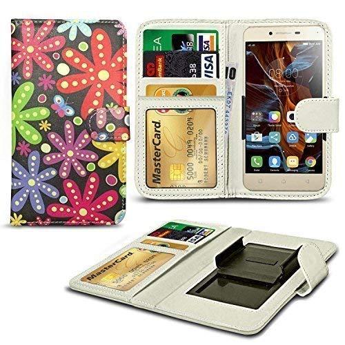 N4U Online® Verschiedene Muster Clip Serie Kunstleder Brieftasche Hülle für Allview E3 Living - Viele Blumen