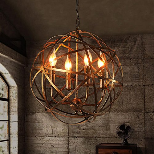 Restaurant-Leuchter-Retro industrielle Metallkreuz-Kugel-4-Licht-Kerze-Leuchter-hängende Beleuchtungskörper, antikes Messing