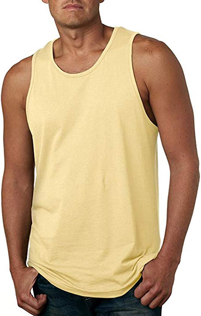 Gergeos Tank Tops Muscle Bodybuilding Workout Sleeveless Gym Shirts Training Fitness for Men Yellow