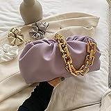 HKFG Bolso de Mano Plisado de Color sólido Bolsode diseñador de Cuero Suave deModa paraMujer Bolsos de Hombro de Viaje Bolso de axila