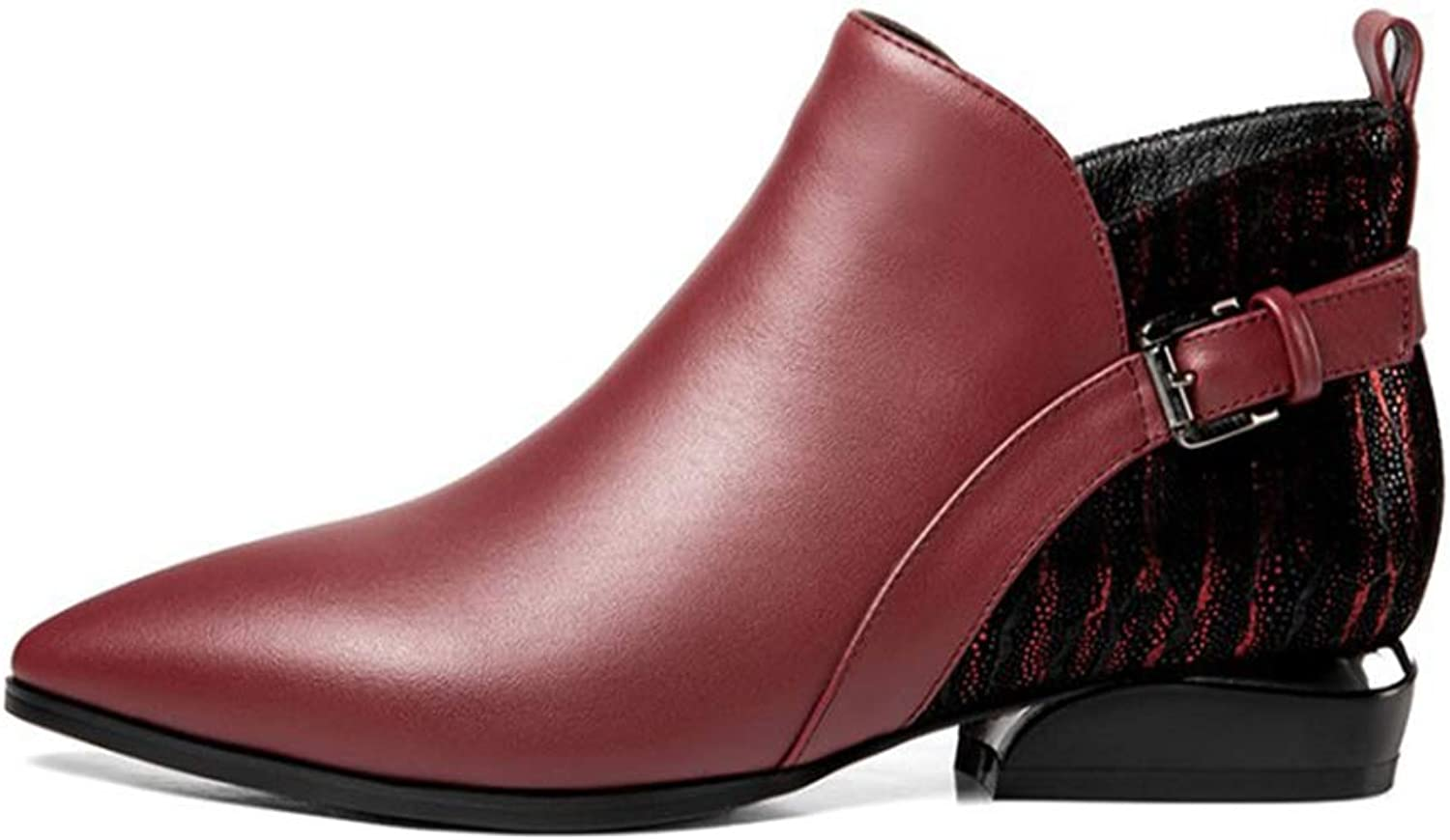 Women's Booties, Fall Winter Block Heel Square Toe Ankle Boots Party Evening Fashion Boots Ladies Leather Comfortable Martin Boots (color   A, Size   39)