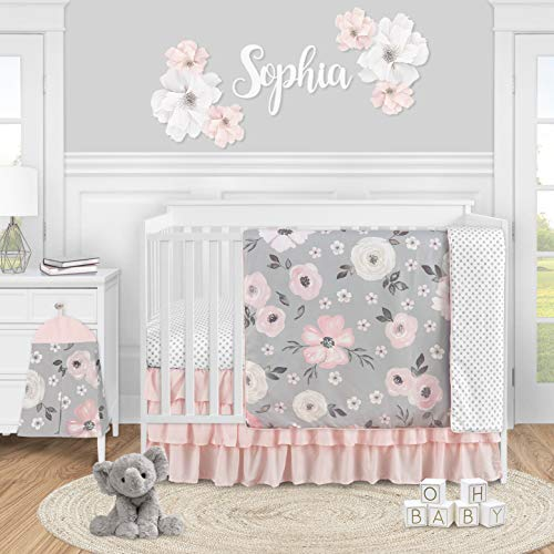 Sweet Jojo Designs Grey Watercolor Floral Baby Girl Nursery Crib Bedding Set - 4 Pieces - Blush Pink Gray and White Shabby Chic Rose Flower Polka Dot Farmhouse