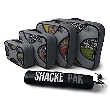 Shacke Pak - 4 Set Packing Cubes - Travel Organizers with Laundry Bag (Dark Grey)