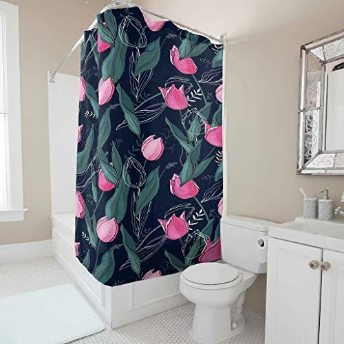 Charzee douchegordijn plant bloem bedrukt schimmel resistent kleurvast plant gordijn badkuipgordijn met ringen