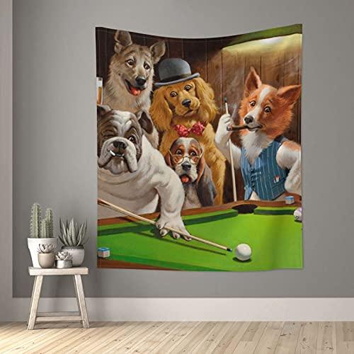 Tapiz de billar para perro, fiesta, bulldog pastor, tapices de pared pequeños para dormitorio, sala de estar, ventana, decoración estética separador de habitación, 152,4 x 129,5 cm