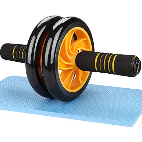 AUOPLUS 腹筋ローラー アブホイール 2輪 膝マット付き 男性 女性 初心者 上級者 アブローラー 腹筋 トレーニング 筋トレグッズ ダイエット器具 エクササイズローラー (イエロー)