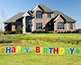 ComboJoy 15 Packs Happy Birthday Yard Sign with Stakes - Perfect Outdoor Lawn Decorations with Bright & Colorful Letters Made of Thick Weatherproof Corrugated Board and 30 Stakes