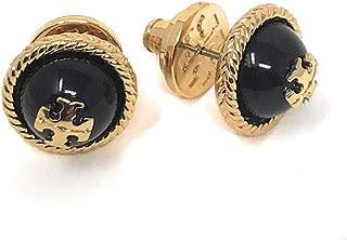 Tory Burch Rope Logo Stud Earrings Black Gold