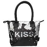 Depesche 10643 Handtasche mit Streichpailletten, Trend Love, Kiss, schwarz, ca. 21 x 31 x 13 cm, bunt