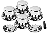 Set of Chrome Front and Rear Axle Wheel Cover 33mm Screw-on Lug Nuts for Semi Truck (Installation Tool Included) (TR082)