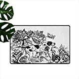 azfvveu Hunting,Indoor Floor Mats Hunting Dogs In The Forest Monochrome Drawing English Pointer and Setter Breeds 36'x48',Modern Doormat 20x32(IN)