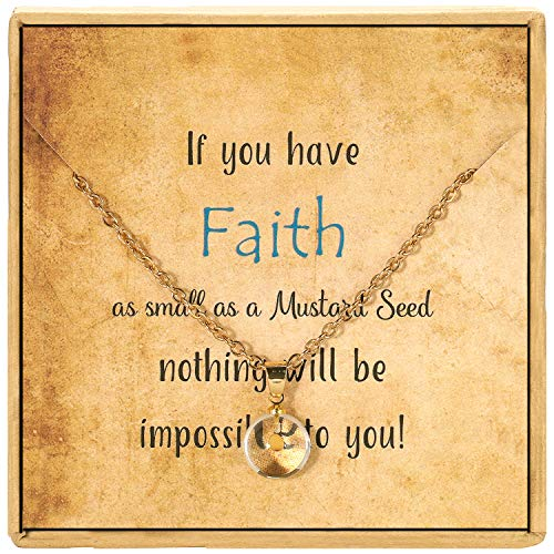 AMIST Bible Verse Inspirational Gifts for Her Meaningful Necklaces for Women - If You Have Faith as Small as a Mustard Seed Mustard Seed Necklace for Women Gold